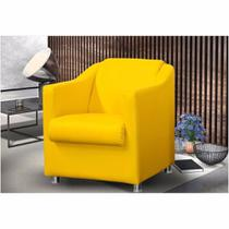 Poltrona Decorativa Tilla Corino Amarelo - Am decor