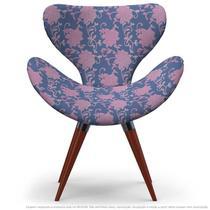 Poltrona Egg Floral Rosa e Lilás Cadeira Decorativa com Base Fixa - Clefatos
