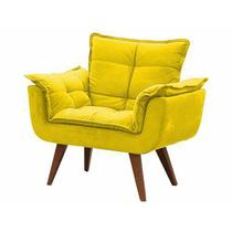 Poltrona Opala Decorativa Sued Amarelo - Time decor