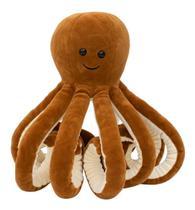 Polvo Marrom Escuro 10 Tentáculos Pelúcia Original Fofy Toys -