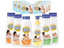 Pom pom kit bebe com 06 sabonetes 80g + sab liq + shampoos + conds + talco 12un -