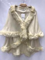 Poncho Pelerine De Lã Com Pelos Sintetico Feminina - Seven