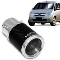 Ponteira de Escapamento Carbox Racing Chevrolet Meriva 2001 a 2012 Carbono Redonda Alumínio Polido -