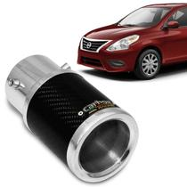 Ponteira de Escapamento Carbox Racing Nissan Versa 2011 a 2019 Carbono Redonda Alumínio Polido -