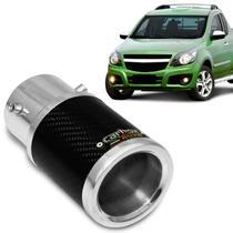 Ponteira de Escapamento Fênix Carbox Racing Chevrolet Montana 2003 a 2011 Carbono Redonda Alumínio -