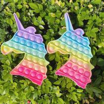 Pop It Fidget Push Pop Brinquedo Anti Stress Sensorial Bolinhas Coloridas Arco Íris Unicórnio - SDS