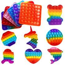 Pop It Fidget Toys Brinquedo Bolha Anti Stress Sensorial Colorido - Popit