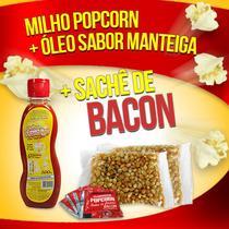 Popcorn Premium 200g milho + Óleo Sabor Manteiga + 05 Sachê de Bacon - Flavored Popcorn