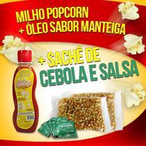 Popcorn Premium 200g milho + Óleo sabor Manteiga + 05 Sachê de Cebola e Salsa - Flavored Popcorn