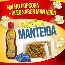 Popcorn Premium 200g milho + Óleo sabor Manteiga + 05 sachê de Manteiga - Flavored Popcorn