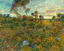 Pôr do Sol em Montmajour - Vincent van Gogh - Tela 60x76 Para Quadro - Santhatela