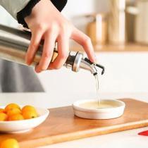 Porta Azeite Vinagre Galheteiro Em Vidro Aço Inox C/ Dosador - Top Total