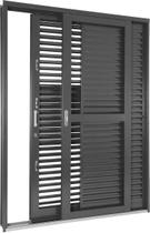 Porta Balcão Multiflex Aço 3 Folhas 217x160x16.5cm Abertura Direita Sem Vidro - Cinza - Sasazaki
