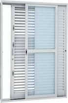 Porta Balcão Multiflex Aço 3 Folhas 217x160x16.5cm Abertura Esquerda Vidro Liso - Branco - Sasazaki