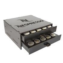 Porta Capsula Café Nespresso Mdf Preto 50 Capsula 2 Gaveta - Make Laser