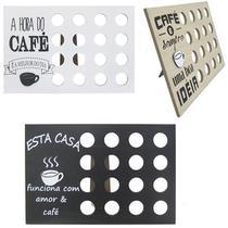 Porta capsulas de cafe de madeira colors frases cafe para 16 capsulas 29,5x19,5cm - Interponte