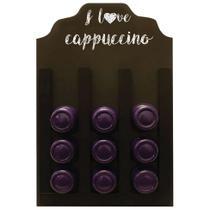 Porta Cápsulas Três Corações I Love Cappuccino Imbuia 20x30cm - Kapos
