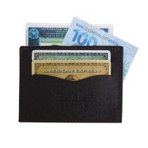 Porta Cartão 03 - Mini Carteira de Bolso em Couro (649TN03) Pequena Slim - Porta CNH, Cartões, Cédulas - Kênia Kátia