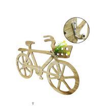 Porta chave de madeira com 3 ganchos de metal bicicleta 39x24cm - Golden Rio