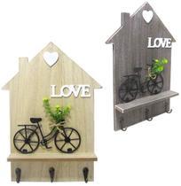 Porta Chave de Madeira com 3 Ganchos de Metal Casa Love com Bicicleta 34x24cm - Golden Rio