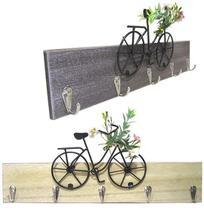 Porta Chave de Madeira com 5 Ganchos de Metal com Bicicleta 40x16cm - Golden Rio