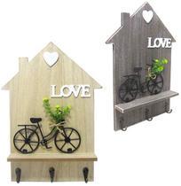 Porta chave love com bicicleta de madeira com 3 ganchos de metal  34x24cm - Golden Rio