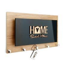 Porta Chaves/Carta Momento Casa Home Amadeirado e Preto Ref 245 -
