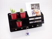Porta chaves carta organizador decorativo ripas MDF Preto - Make Laser
