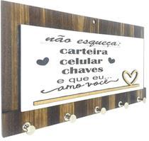 Porta Chaves Cartas Em Madeira Mdf Não Esqueça As Chaves A01 - Carioca Artesanatos