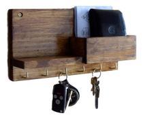 Porta Chaves Celular Cartas Em Madeira De Pinus Rústico - Gdn
