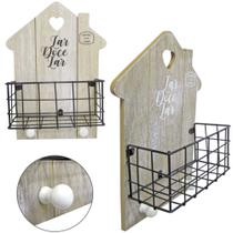 Porta chaves de madeira + Porta trecos aramado - Fwb