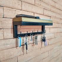 Porta Chaves De Parede com Prateleira Design Industrial Madeira e Aço - Websize