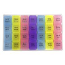 Porta Comprimidos Organizador De Pastilhas Semanal Caixa Para Medicamentos Colorido - Monaliza