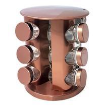 Porta Condimento Com Suporte Giratório Em Aço Inox 13 Peças Rose Gold- GMB -