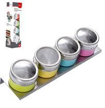 Porta Condimento De Inox Imantado Colors Kit Com 4 Pecas + Suporte Ox Prime - Wellmix