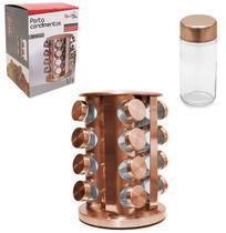 Porta condimento de vidro / inox kit com 16 pecas 80ml + suporte giratorio rose gold - Top Rio
