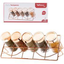 Porta condimento de vidro kit com 5 pecas 90ml + suporte aramado metalizado rose gold - Wellmix