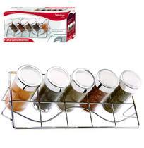 Porta Condimento de Vidro Kit com 5 Pecas com Suporte Aramado - Wellmix