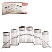 Porta Condimento de Vidro Kit com 6 Pecas 90ml com Suporte Aramado REF: WX 6826 - Wellmix