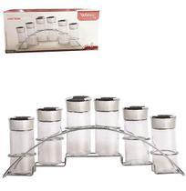 Porta condimento de vidro  + suporte 6 pçs - Wellmix
