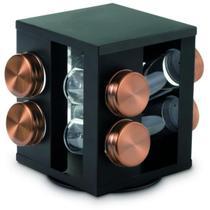 Porta Condimento Giratório Aço Inox 8 Peças Preto e Bronze - Mimo Style