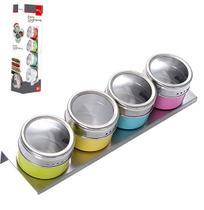 Porta Condimento Inox Imantado Kit Com 4 Pecas e Suporte - Wellmix