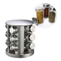 Porta Condimento Tempero Inox Vidro 12 Potinhos Gira Cozinha Restaurante - Braslu