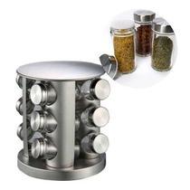 Porta Condimento Tempero Inox Vidro 12 Potinhos Gira Cozinha Restaurante - Reparocell