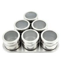 Porta Condimento Tempero Magnético Em Inox 6 Potes C/ Imã - Clink