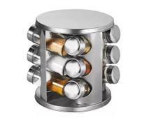 Porta Condimentos 12 Peças com Base Giratória em Inox - Futuro -