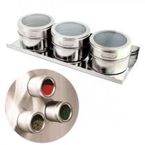 Porta Condimentos 3 Potes em Aço Inox com Imã na Base e Suporte Wellmix WX3878 -