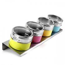 Porta Condimentos 4 Potes em Aço Inox com Imã na Base e Suporte Colorido Wellmix WX3880 -