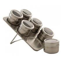 Porta Condimentos 6 Potes Em Aço Inox Com Imã Na Base E Suporte Wellmix Wx3882 -