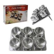 Porta Condimentos 6 Potes em Aço Inox com Imã na Base e Suporte Zein BS120-XC259 -
